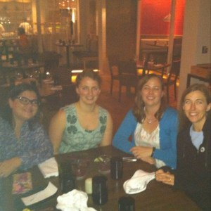 Dinner Friday Night: Sandi @Crafty Planner, Renee @Quilts of a Feather, Amanda @What the Bobbin, and Me