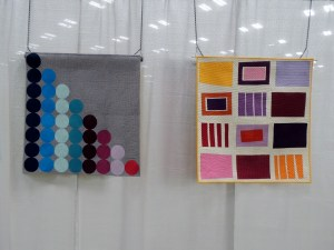 (Left) Abacus by Christa Watson and Neighborhood by Michelle Wilkie (Right)