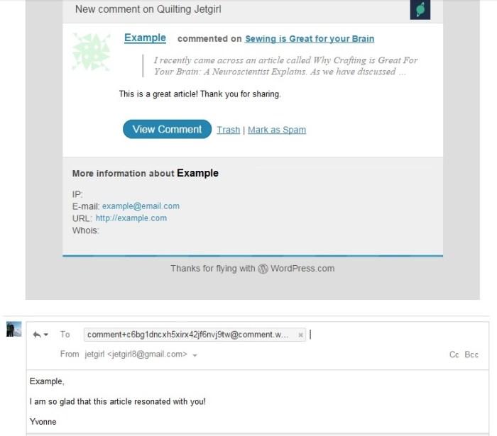 wordpress email example