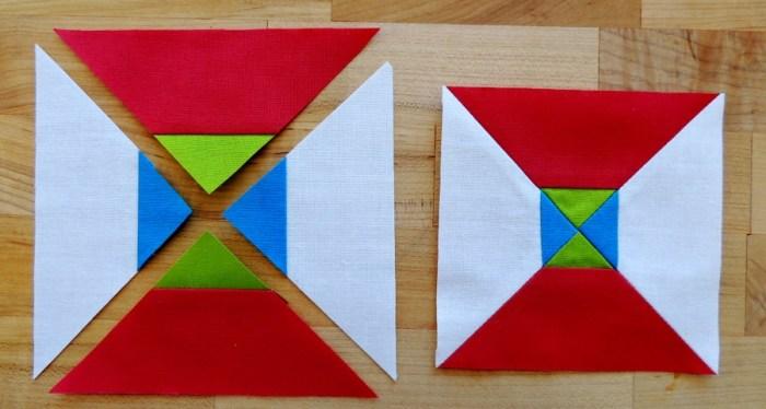 Hourglass Block Piecing