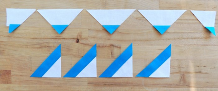 Piecing Step 2 - (4) 3 7/8-inch Triangles