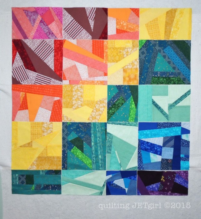 Rainbow Scrap Quilt: Blocks Pieced