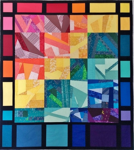 Rainbow Improv Scrap Quilt - With Borders