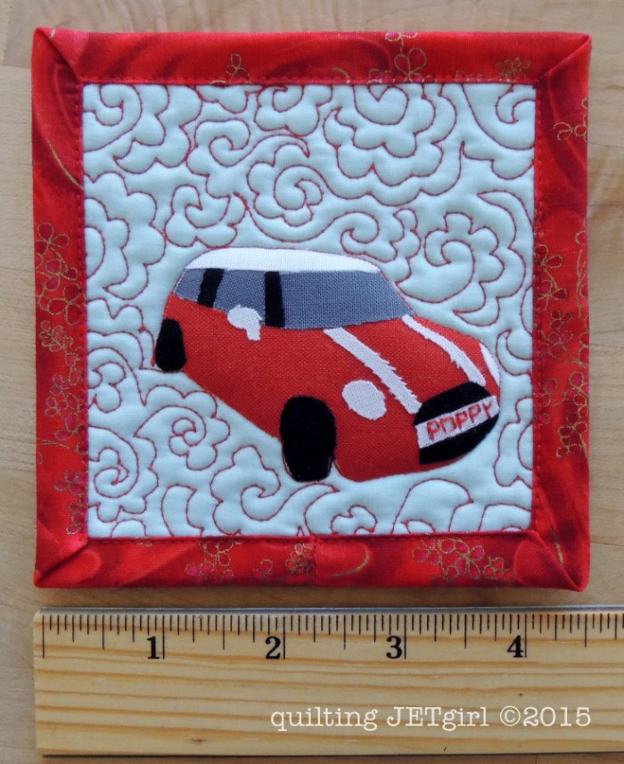 Mini Mini Quilt of a Mini Cooper: Poppy