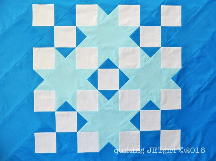 Snowflake Shimmer in Blue - Pieced Center Viewed at a 45-degree Angle