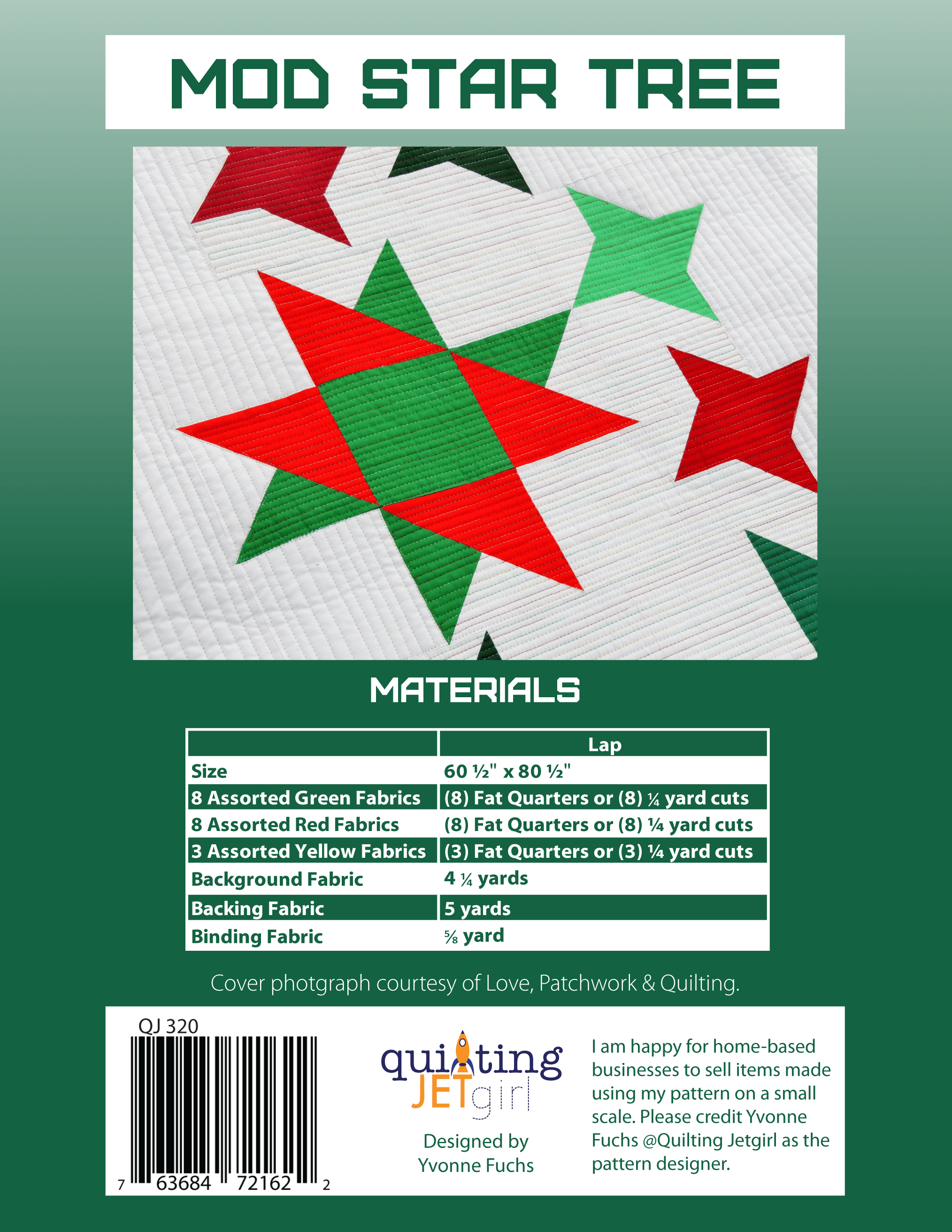 Mod Star Tree Quilt Pattern - Green Back Cover