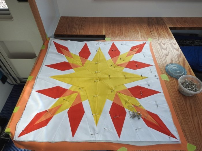Basting - Adding the Quilt Top and Pinning