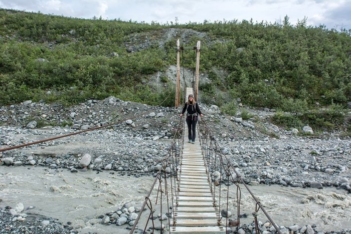 Cable suspension bridge along Gulkana Glacier Hike, photograph by Michael Fuchs