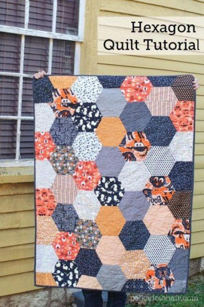 Large Hexagon Quilt pattern free