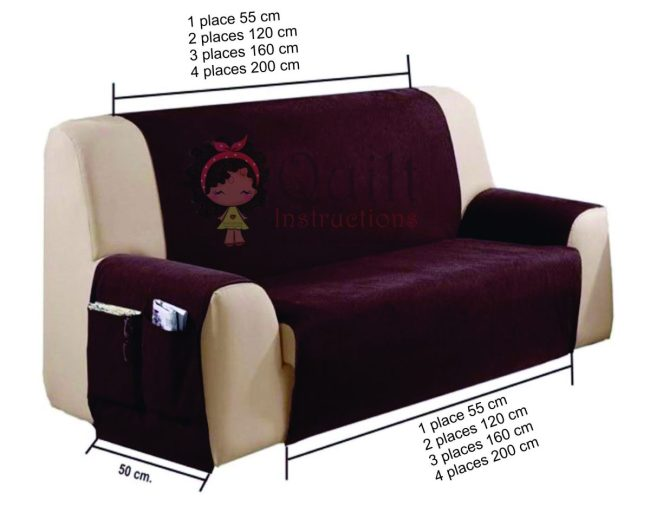 Sofa cover with free patterns pockets