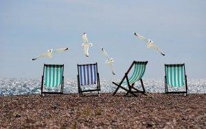 beach, seagulls, deckchairs