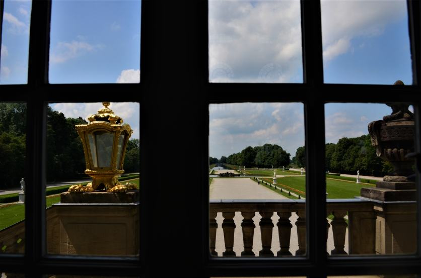 Looking out over the formal gardens from the Great Central Hall