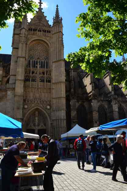 The flea market in the square in front of St. Etienne Cathedral