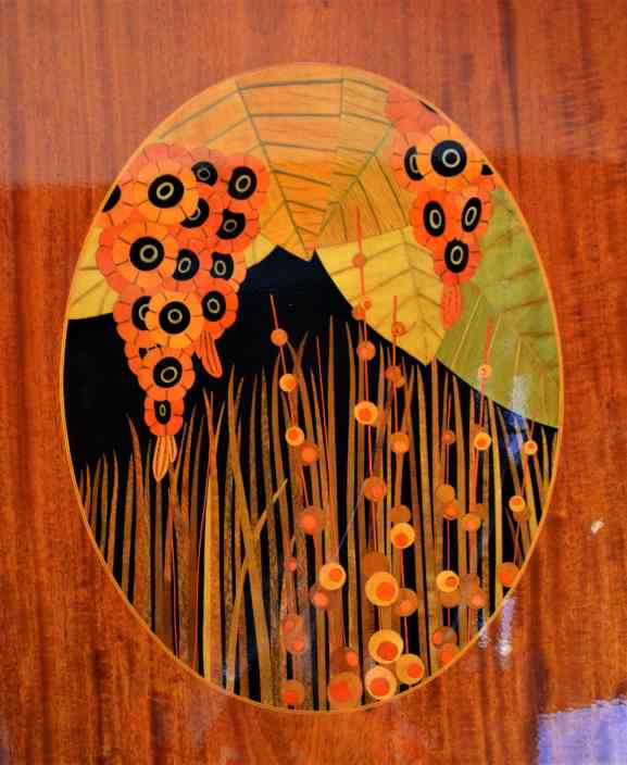 Marquetry inlay on the woodwork in our cabin