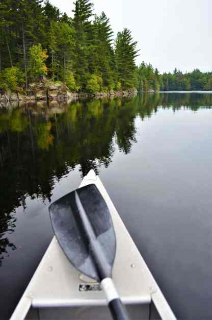 Canoeing on the very calm lake was very easy