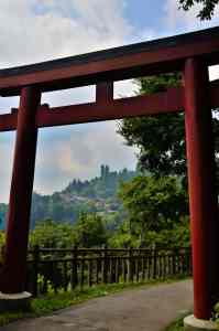 Large red torii gate entrance