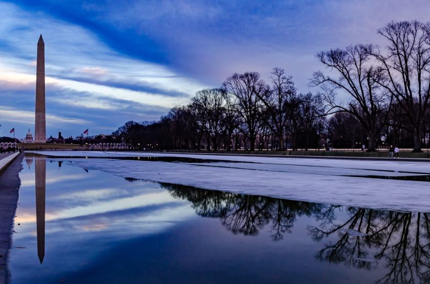 Winter sunset over the Washington Monument