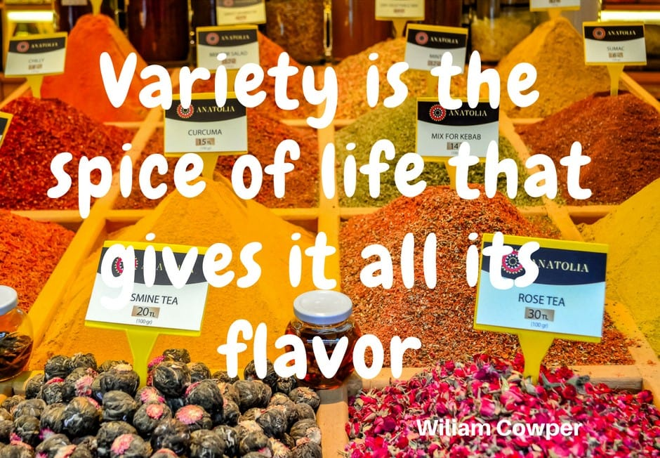 variety is the spice of life that gives it all it's flavor