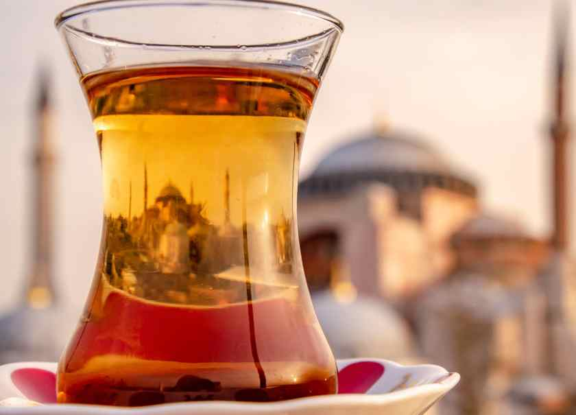 Hagia Sofia reflection in a tea glass
