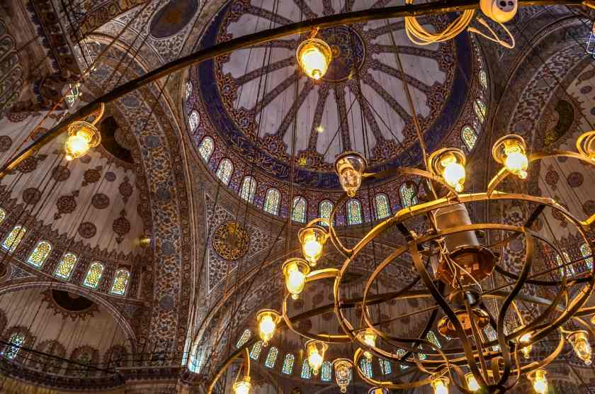 Inside the Blue Mosque, one of the famous mosques in Istanbul