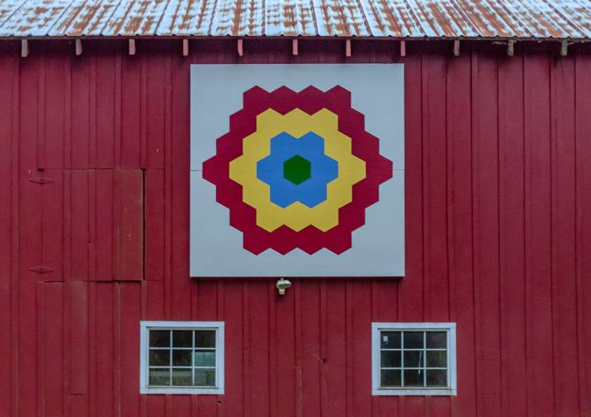Grandmother's Flower Garden quilt barn block