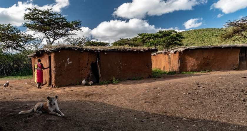 Typical Maasai houses made of mud walls and thatched roofs