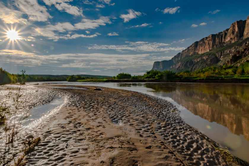 Rio Grande reflection in the early morning at Santa Elena Canyon
