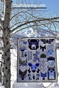 An Elizabeth Hartman quilt combining a number of her design patterns #quilt #elizabethhartman #animalquilt #babyquilt
