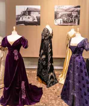 elaborate vintage dress display