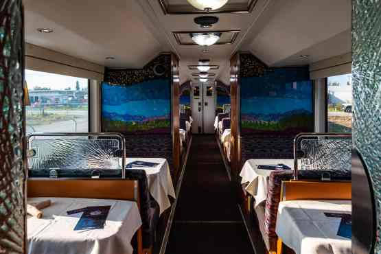 The dining level of our rail car