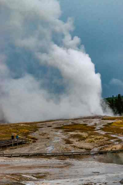 Old Faithful as seen from the boardwalks in the Upper Geyser Basin