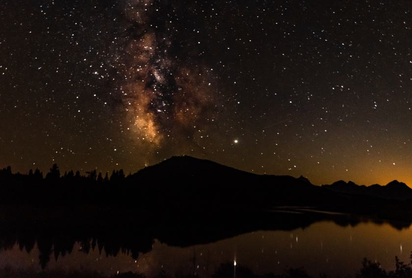 The milky way is visible on a moonless night at Oxbow Bend