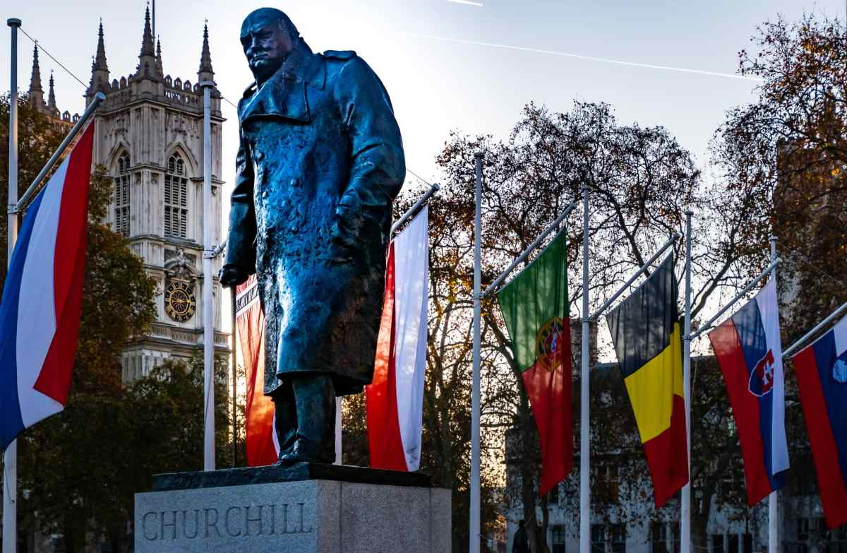 Winston Churchill statue in Parliament Square Garden