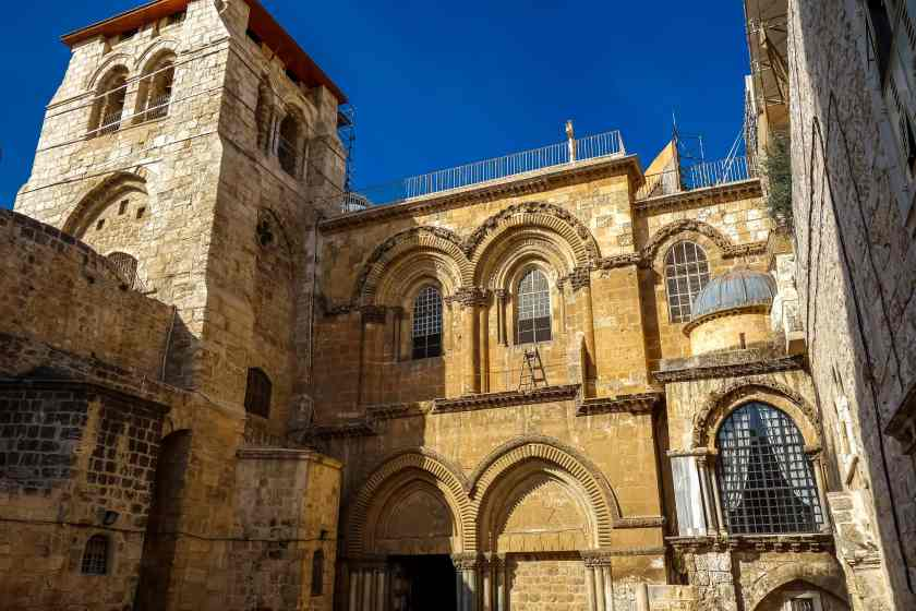 The entrance tp the Church of the Holy Sepulcher