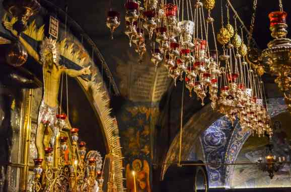 some of the decorations inside the Church of the Holy Sepulcher