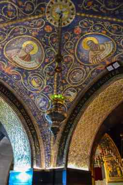 Decorations on the ceiling of the Church of the Holy Sepulchur