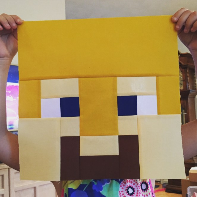 Minecraft Quilt - Block 16 - Gold Steve