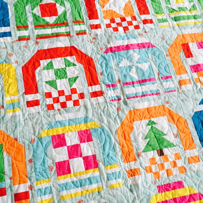 Ugly Christmas Sweaters Quilt - Closeup