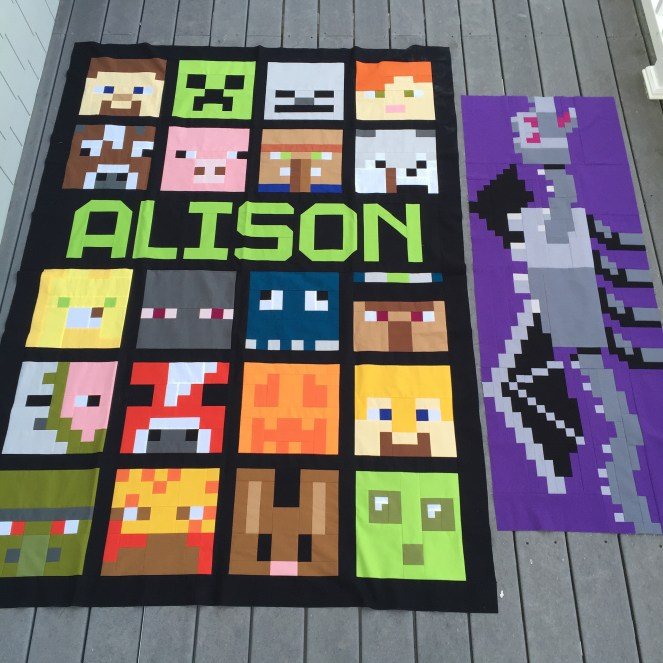 Minecraft Quilt - Completed Top and Almost Complete Back