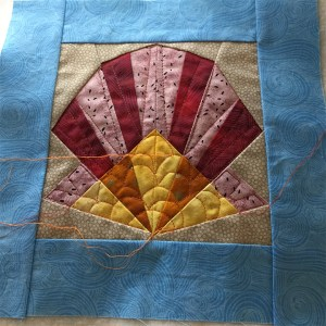 a partly quilted block