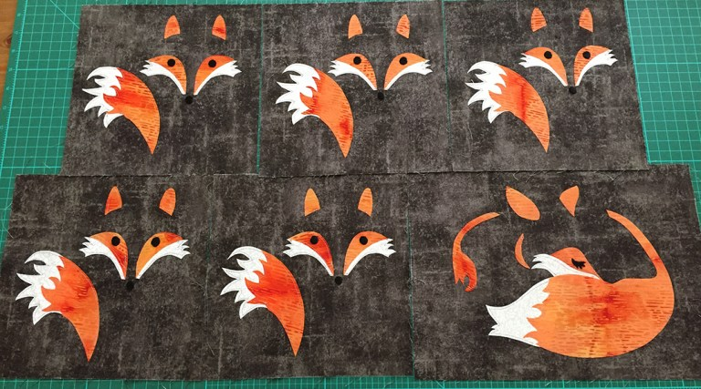 Six applique fox blocks