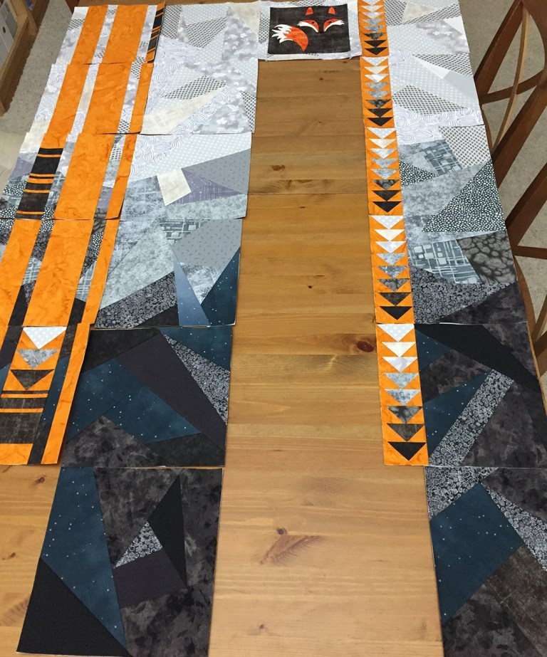 Quilt, partly assembled
