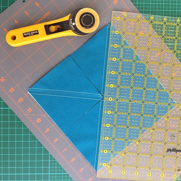 "Rotary cutter, ruler, and partly-cut 8"" unit"