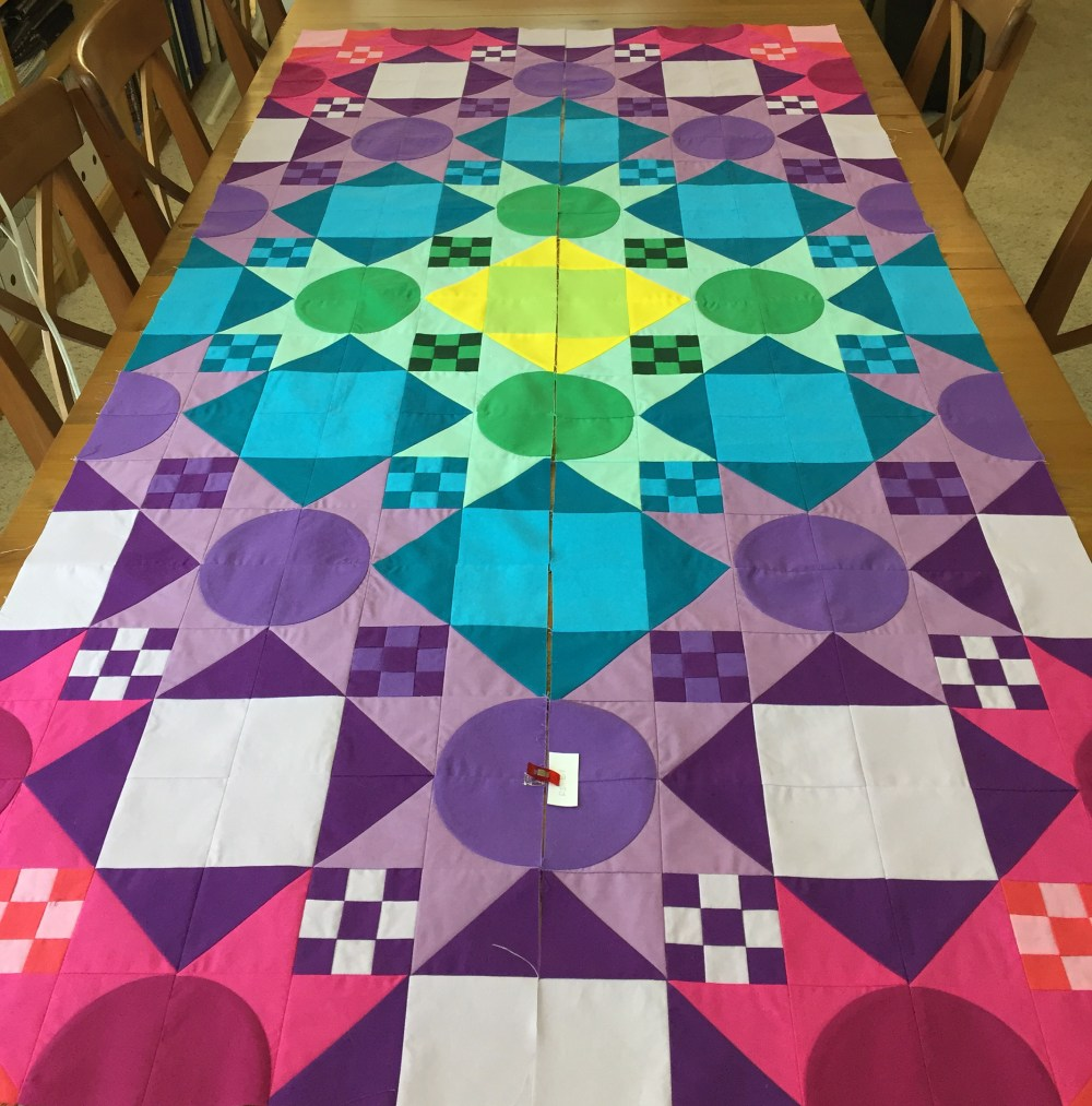Two rows of blocks for a quilt