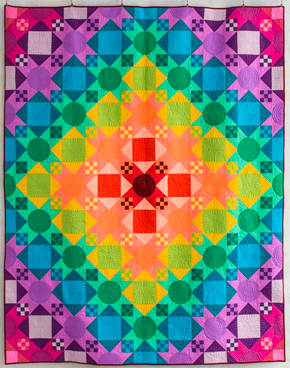 Photo of a colorful quilt top
