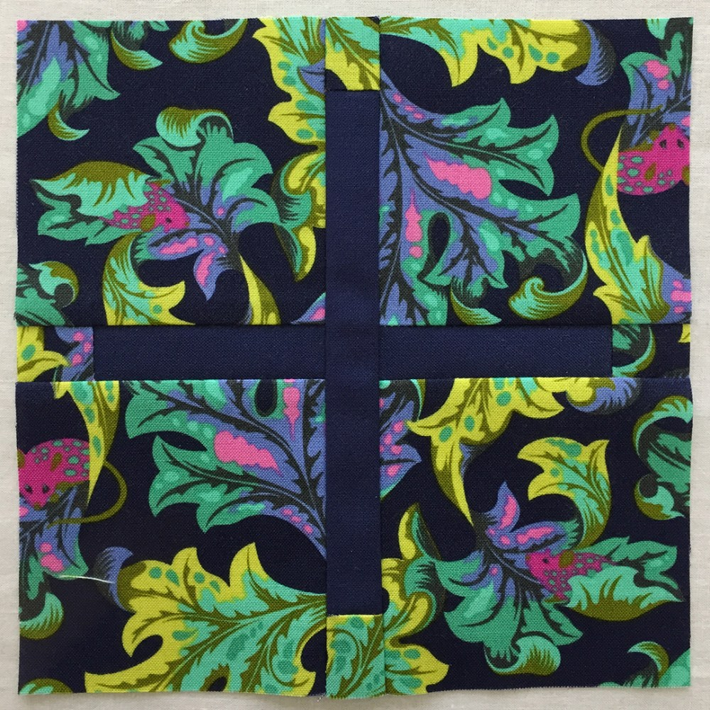 quilt block in a navy floral print