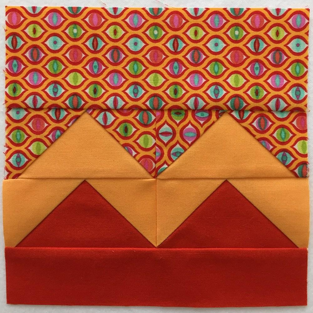 quilt block in red-orange