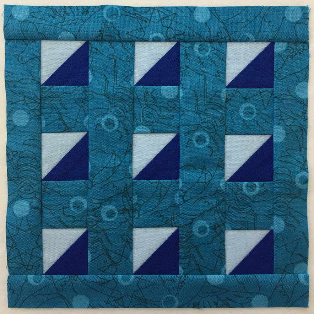 quilt block in blue
