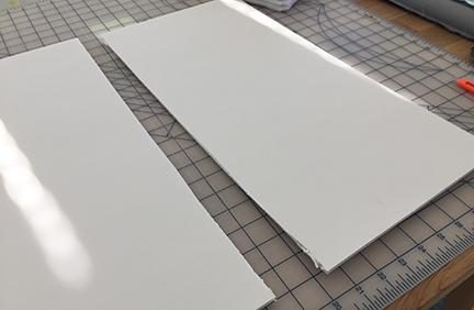 A cut piece of foam board