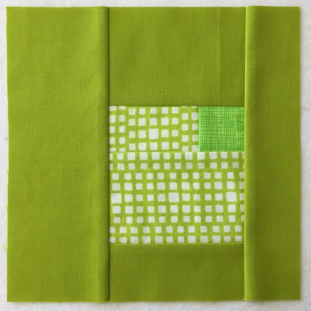 quilt block in yellow-green